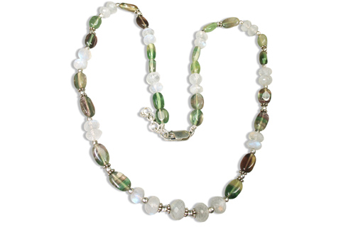 Design 9207: brown,green,white moonstone necklaces