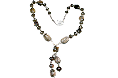 Design 9209: brown smoky quartz contemporary necklaces