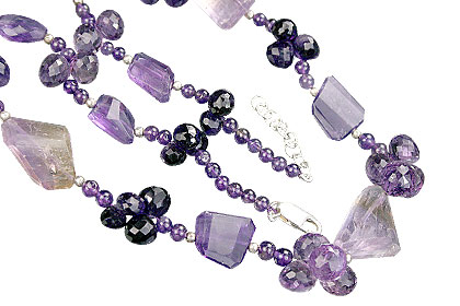 Design 9218: purple amethyst briolettes necklaces