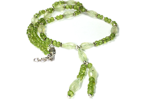 Design 9220: green prehnite necklaces