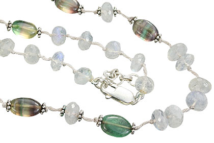 Design 9226: green,white moonstone necklaces