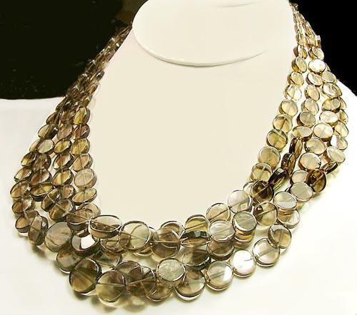 Design 923: gray smoky quartz multistrand necklaces
