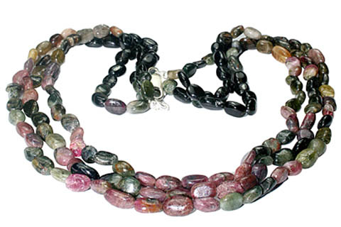 Design 951: green,pink,multi-color tourmaline multistrand necklaces