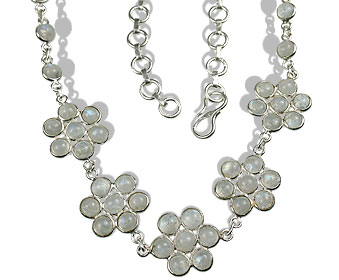 Design 971: white moonstone choker, flower, wedding necklaces