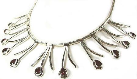 Design 979: red garnet contemporary necklaces
