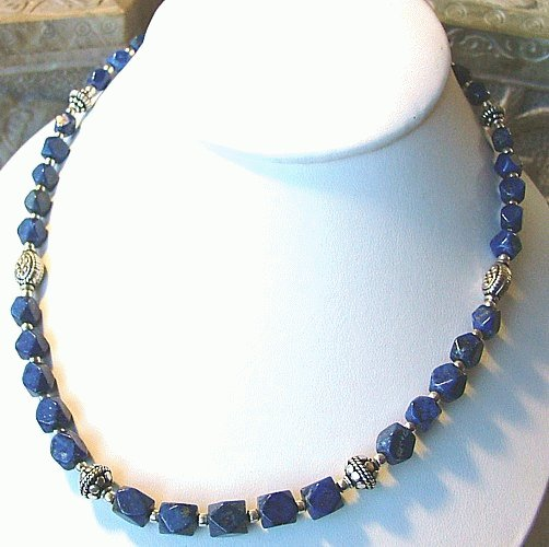 Design 994: blue lapis lazuli tumbled necklaces