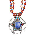 Design 13514: blue,orange,multi-color carnelian medallion, pendant, star necklaces