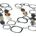 Design 15110: black,white,multi-color agate contemporary necklaces