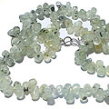 Design 264: green,white prehnite drop necklaces