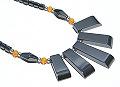 Design 5133: black,orange hematite contemporary, halloween, mens necklaces