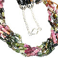Design 7435: pink,multi-color tourmaline necklaces