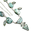 Design 9023: green turquoise chunky, contemporary necklaces