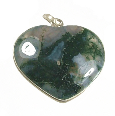 Design 1038: green,gray moss agate heart pendants