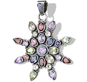 Design 1046: multi-color multi-stone flower pendants