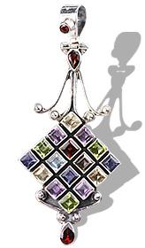 Design 1120: multi-color multi-stone pendants