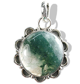 Design 1293: green,gray moss agate pendants