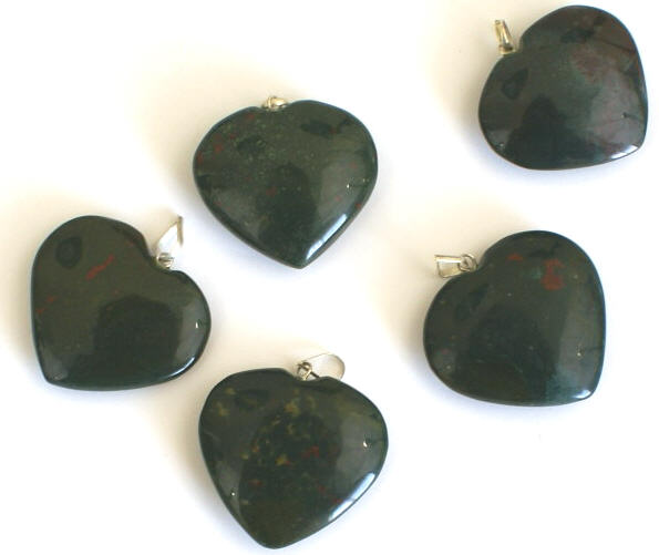 Design 1325: green bloodstone heart pendants