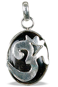 Design 13290: black onyx hindu, ohm, religious pendants