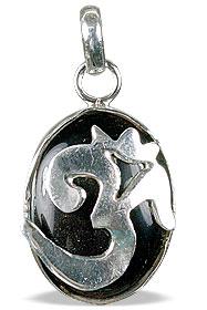Design 13290: black onyx hindu, ohm, religious pendants
