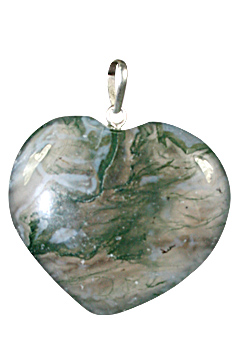 Design 1331: green moss agate heart pendants