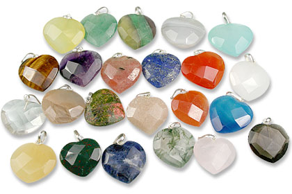 Design 13437: multi-color bulk lots heart pendants