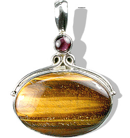 Design 1490: brown tiger eye art-deco pendants