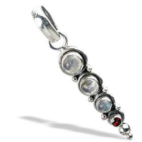 Design 1519: red,white moonstone pendants