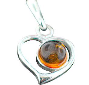 Design 15812: orange amber heart pendants