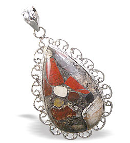 Design 15879: multi-color jasper chunky pendants