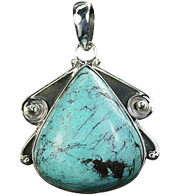 Design 16010: green turquoise chunky pendants