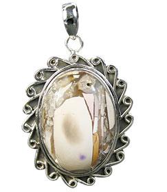 Design 16014: brown,white,yellow jasper flower pendants