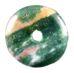 Design 1604: green jasper donut pendants