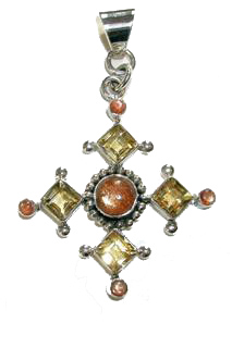 Design 1648: orange,yellow citrine christian, cross pendants
