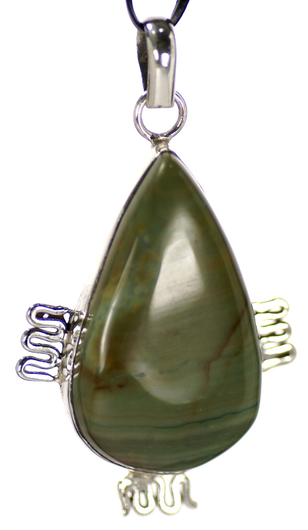Design 16968: green agate pendants