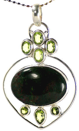 Design 17020: green bloodstone pendants