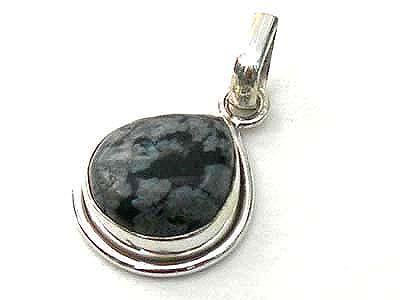 Design 1724: black obsidian drop pendants