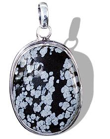 Design 1816: black,white obsidian pendants