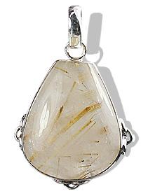 Design 1821: brown,white rutilated quartz drop pendants
