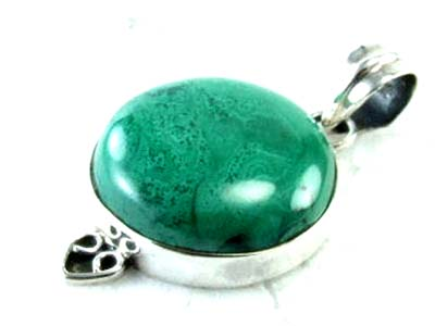 Design 1834: green malachite pendants