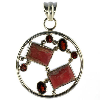Design 18581: red rhodochrosite pendants