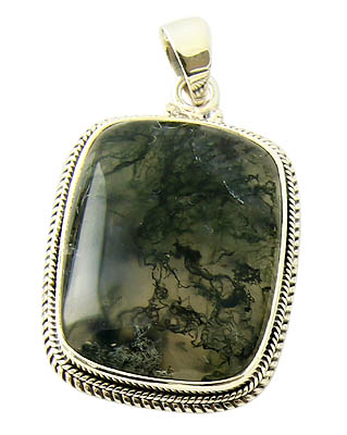 Design 21142: green moss agate pendants