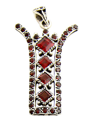 Design 21156: red garnet pendants