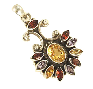 Design 3110: purple,red,yellow multi-stone flower pendants