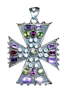 Design 3157: blue,purple,red labradorite christian, cross, gothic-medieval pendants
