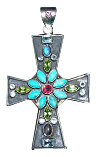 Design 3158: blue,green,red multi-stone christian, cross, religious pendants