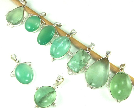 Design 5078: blue,green fluorite pendants