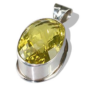Design 5086: yellow lemon quartz art-deco, chunky pendants