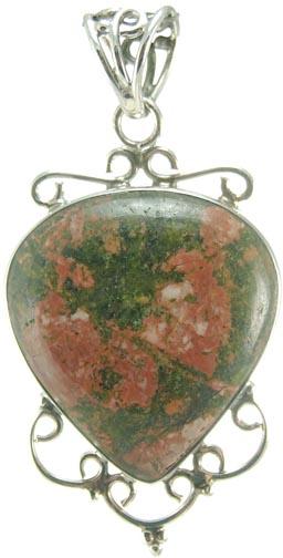 Design 5152: green,orange unakite drop pendants