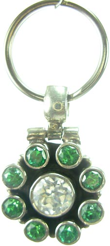 Design 5182: Clear/ Green cubic zirconia pets pendants