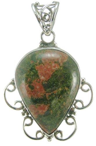 Design 5223: green,red unakite drop pendants